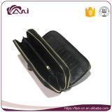 Портмоне монетки застежки -молнии Fani черное двойное, бумажник PU женщин кожаный