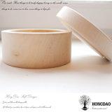 Hongdao kundenspezifische kleine natürliche Farben-unfertiges einfaches rundes hölzerner Kasten Luxux_E