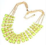 Accesorio de joyas de moda de verano multi-capa de resina verde ajustable Collar chapado en oro de la cadena de cable libre de cromo níquel (PN-067)