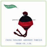 昇進の正常な様式の冬のEarflapの黒くおよび赤い帽子