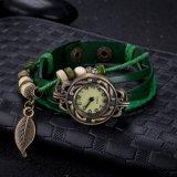 Горячий зеленый цвет типа сбор винограда сбывания с браслетом Antique вахты покрынным бронзой кожаный