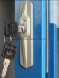 Due armadietti dell'archivario del portello di vetro di scivolamento/armadietto del metallo