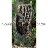 De houten Fontein van het Water Polystone van de Tuin van de Stijl Decoratieve Openlucht met LEIDEN Licht
