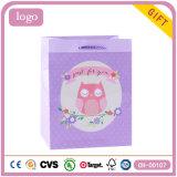 Bolsas de papel revestidas del regalo del buho del arte púrpura de los niños