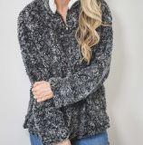 新しいデザイン卸売のモノグラムの本当の屑のSherpaの羊毛のプルオーバー