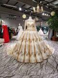 Longue chemise d'or robe de mariage de robe de bille de train de 2 mètres