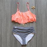 2 조각 떨어져 어깨는 로터스 잎 결박 비키니 줄무늬 인쇄 다색 높은 허리 수영복을 물결이 일게했다