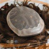 PUのボーダー人間の毛髪のブラウンカラー人のToupee (PPG-l-01365)
