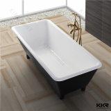Autoestable redonda grande piedra artificial bañera para dos personas