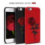 в случай iPhone 7/iPhone 7 добавочный, случай вышивки Mutural, цветок Rose на iPhone 7 аргументы за iPhone 3D флористическое