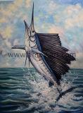 La vie marine étirée de haute qualité à la main de l'huile de poisson de la peinture décoration pour la maison
