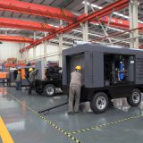空気圧縮機中国185 Cfmの後ろの大きいディーゼル携帯用移動式牽引