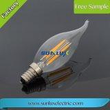 Tampa aprovada C35 E27 4W 400lm 2700K Dimmable do espaço livre da luz da vela do filamento do diodo emissor de luz 240V de SAA