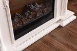 Résine blanche en bois solide découpant la cheminée de sculpture