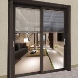 Panel de Vidrio puerta corrediza de aluminio con persianas de Control Remoto