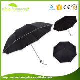 開いた軽量マニュアルおよび女性のための近い広告の3つのフォールドの傘