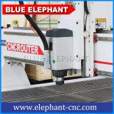 木製のドアの作成のための青い象3の軸線の1530年の組合せCNCのルーターの木工業機械