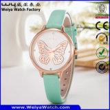 Het Horloge van het Polshorloge van het Kwarts van het Geval van het Staal van de Legering van de Riem van het leer voor Vrouwen (wy-130B)