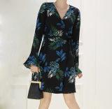 Элегантный деловых обедов шаблон растений Дамы платье