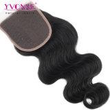 Закрытие верхней части волос девственницы части объемной волны волос Yvonne свободно