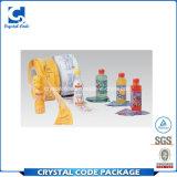 Étiquette découpée avec des matrices de collant de rétrécissement de PVC pour la bouteille en plastique