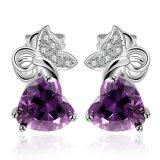 Boucles d'oreille de goujon d'alliage de Zircon de boucles d'oreille de femmes de mode de Zircon de Puple