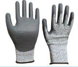 Покрынные PU перчатки безопасности работы отрезока упорные с Ce