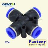 4way de pneumatische Plastic Duw van de Montage van de Slang van de Lucht in Snelle Schakelaar