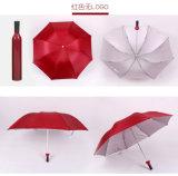 Pubblicità su ordinazione di volta di marchio dell'ombrello di figura della bottiglia di vino dell'elemento 3 all'ingrosso del regalo di PN