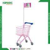 Kind-Spaziergänger-Supermarkt scherzt Einkaufen-Laufkatze-Karre