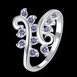꽃 모양 다이아몬드 여자 은 반지 여자 보석