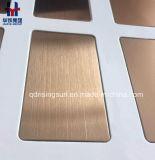 Nam de Gouden Hairline Gebeëindigde Trilling van het Satijn van de Plaat van het Blad van de Kleur van het Roestvrij staal toe