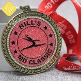 Venda por grosso de liga de zinco esmalte personalizado executando Sports Awards Loja Medal of Honor
