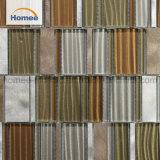 Mosaico di alluminio di vetro delle mattonelle di Backsplash del mosaico Brown della striscia all'ingrosso di Foshan