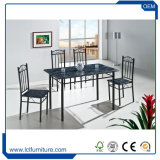 까만 색깔 4 Seater MDF PVC 나무로 되는 식탁을%s 가진 버찌 및 의자는 놓았다