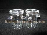 Pequeño recipiente de vidrio transparente de crisol de cuarzo
