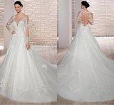 Флора устраивающих шарик платье тюль длинными рукавами свадебные платья H847