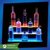 Présentoir acrylique de bouteille de vin de boisson alcoolisée de la crémaillère DEL de vin d'OEM Plexigalss