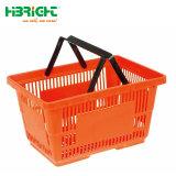 Plastikeinkaufskorb-Supermarkt-einzelner doppelter Handkorb
