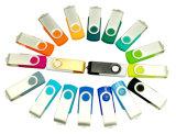 Mecanismo impulsor promocional del flash del USB del eslabón giratorio del metal con insignia modificada para requisitos particulares