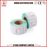 Escritura de la etiqueta auta-adhesivo termal de diversa talla con el código de barras