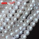 commercio all'ingrosso materiale coltivato d'acqua dolce bianco delle stringhe delle perle di 8-9mm, perle di Zhuji