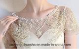 Reizvolle formale Abend-Kleid-Schaufel-SatinAppliques, die Abend-Kleid bördeln