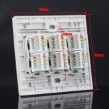 Seis painel modular trapezóide do soquete de parede do soquete RJ45 da placa de face da placa dianteira RJ45 Jack da placa de parede das portas 86mm Cat5e