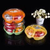 Casella rotonda di plastica all'ingrosso di imballaggio per alimenti della frutta della torta di cottura della fabbrica