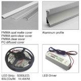 Perfil de la protuberancia del LED, difusor de aluminio de la luz de tira, canal de la tira del LED