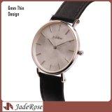 O relógio luxuoso da cinta de couro, relógio do vestido das mulheres, forma o relógio ocasional de quartzo