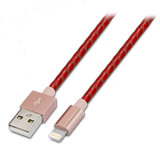 Rayo Rayo Cargador iPhone cable a cable USB Cable de sincronización de datos de cuero Pin 8 Cable de carga rápida para Apple iPhone
