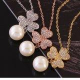 Collar de las mujeres de la perla de la manera de la dimensión de una variable del trébol del oro de Rose
