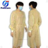 Amarillo Ce FDA ISO Nonwoven desechables aislamiento médica bata, ropa, Cirujano Coat,Ropa,la operación quirúrgica bata de Hospital Médico Quirúrgico, bata,